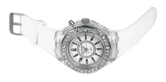 Relógio Quartzo Modelo Grande Com Led Piscante E Strass