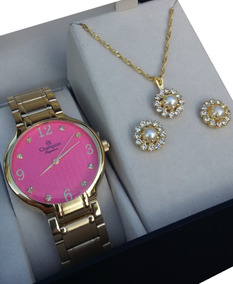 Relógio Champion Dourado Feminino Cn26831j + Brinde Fgratis