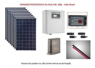 Gerador Solar Conectado À Rede 2.96 Kwp ( On Grid)