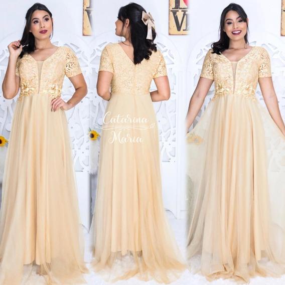 Vestido Madrinha Dourado Rose Marsala Luxo Guipir + Gravata