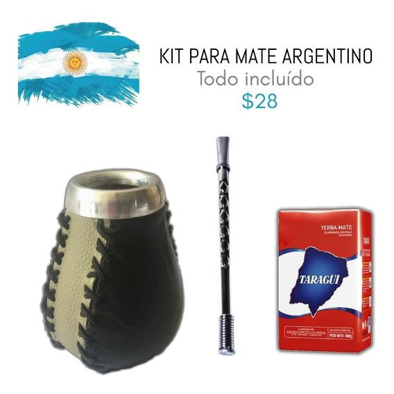 Kit Para Mate Argentino Con Yerba Mate Y Bombilla