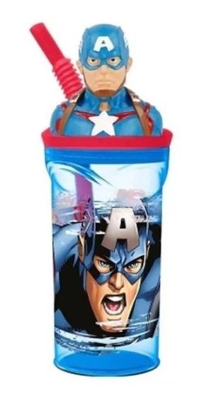 Vaso Con Figurin Marvel Capitan America Sp467