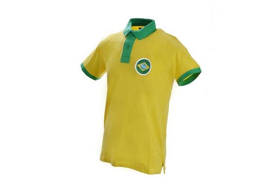 Playera Polo Amarilla Brasil Caballero