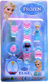 Relógio Digital Infantil Lego Frozen + Boneca Elsa Ou Ana