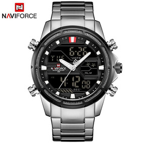 Naviforce Nf9038 Led Masculino Digital-analógico Aço Lindo