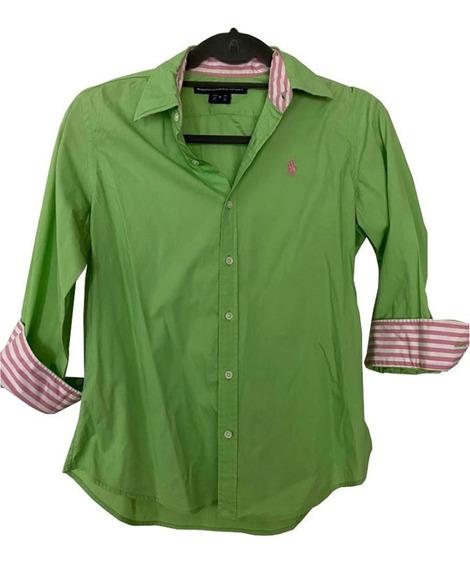 Camisa Entallada Verde Intenso Combinada Ralph Lauren Sport