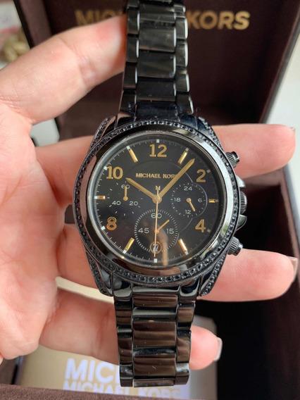 Relógio Michael Kors Original Preto Com Strass
