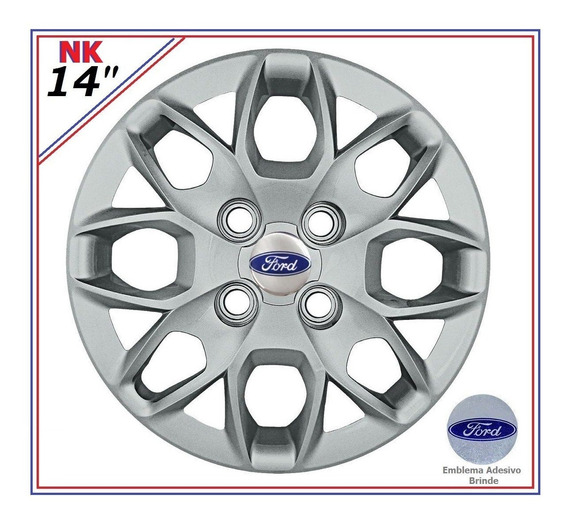 Jogo Calota Ford Ka Novo Fiesta Sedan Hatch Aro 14 + Brinde
