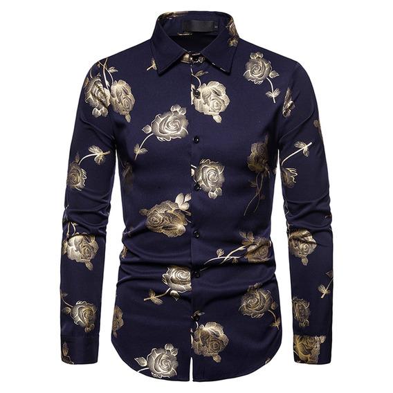 Camisa De Manga Larga Estampada Floral Con Solapa Casual Par