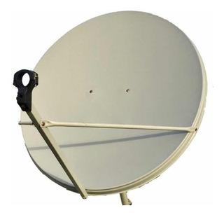 Antena Satelital De 90 X 100 Cm + Soporte + 4 Conectores Rg6