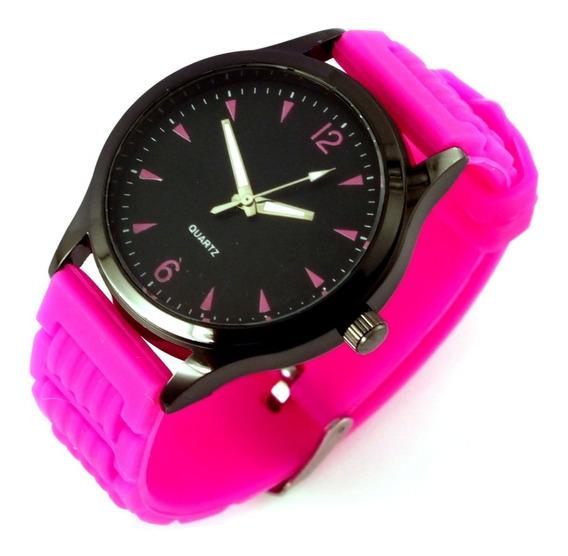 Relógio Feminino Quartz Com Pulseira Rosa Em Borracha B5635