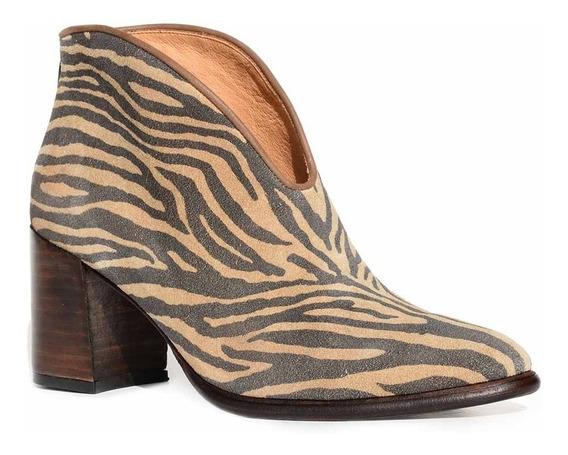 Botineta Mujer Cuero Briganti Zapato Animal Print Mcbo24875