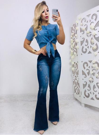 Calça Jeans Flare Com Lycra