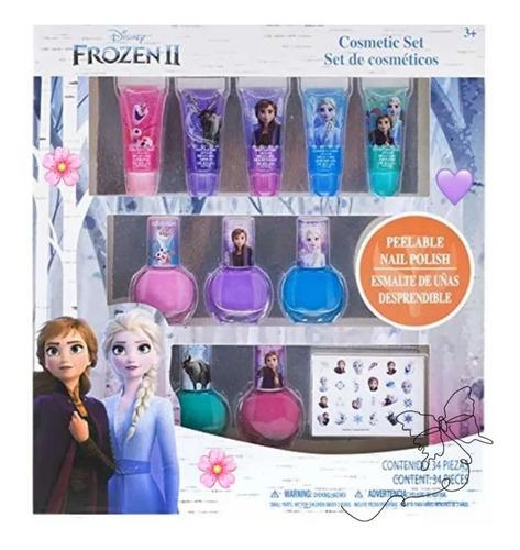 Maquillaje Frozen Niña, Labial, Esmalte Stiker 20 Ver Ds
