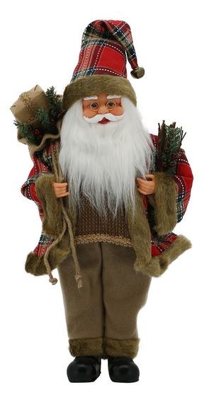Papai Noel Magizi Corda Música E Movimento 41cm Xadrez Bege
