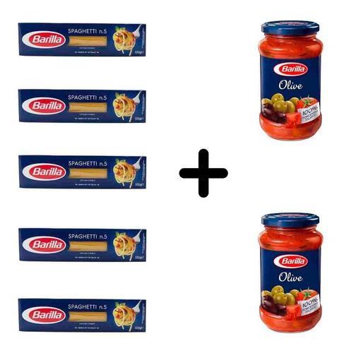 Imagen 1 de 1 de Fideos Barilla Spaghetti 5 Paquetes + 2 Salsas De Olivas