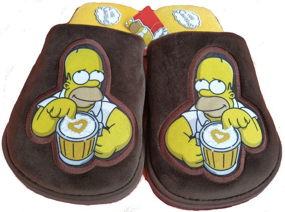28-29 Homero Simpson Pantuflas Cafés Corazón Originales