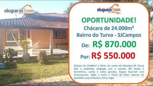 Chácara Com 3 Dormitórios À Venda, 24000 M² Por R$ 550.000 - Turvo - São José Dos Campos/sp - Ch0214