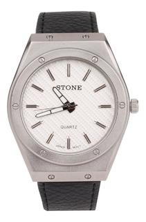 Reloj Stone Analogo Hombre St1016np Cuero Agente Of Liniers