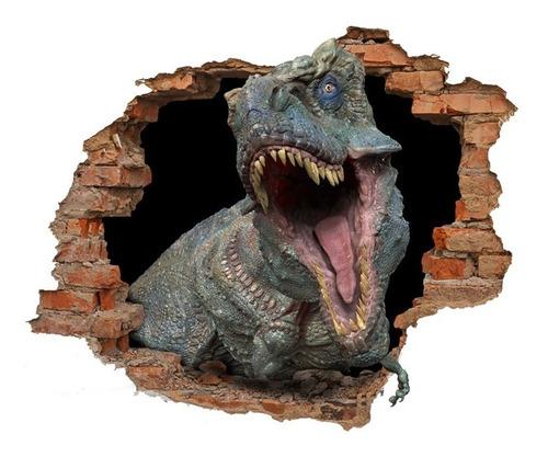 Vinilo Pared Rota 3d Dinosaurio Rex Troquelado 1,20x0,95 Mt