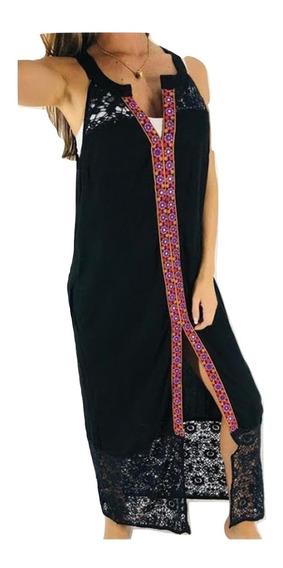 Vestido Largo Bordado Importado Tipo Rapsodia India Style