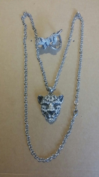 Collar Y Anillo Figura De Leopardo