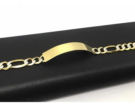 Esclava Para Hombre Oro Puro 10k Con Placa 21 Cm