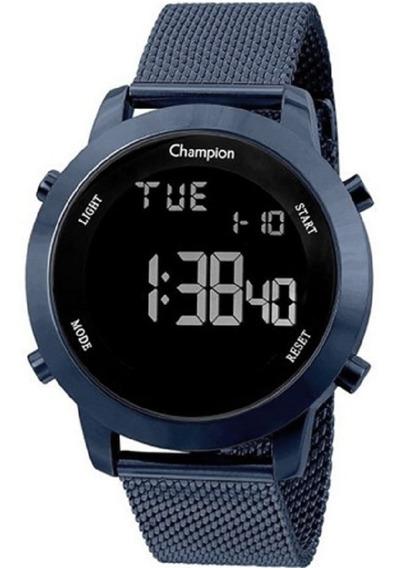 Relógio Champion Digital Azul Escuro Metálico Ch40062a
