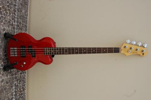 Bajo Electrico Nuevo Rojo Modelo Les Paul Con Cuerno Redondo