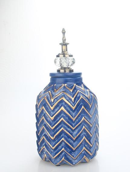 Jarrón Imperial Decorativo En Azul C/tapa Diamante Cuotas