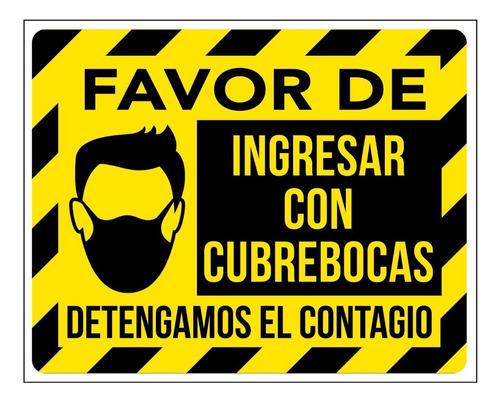 Imagen 1 de 4 de Señalamientos Uso Cubrebocas Obligatorio Contingencia 40x50