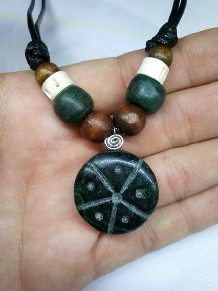 Collar Dije Piedra Jade Verde Hikuri Jikuri Reiki