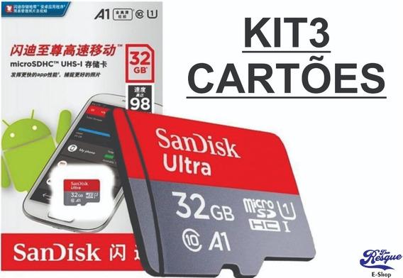 Cartão De Memória 32 Gb Sandisk Classe 10 Kit3 Unidades
