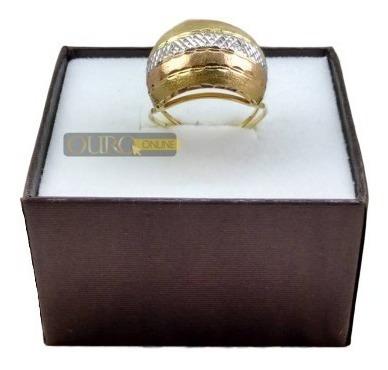 Promoção! Anel Feminino Ouro 18k Luxo Love Star 3478