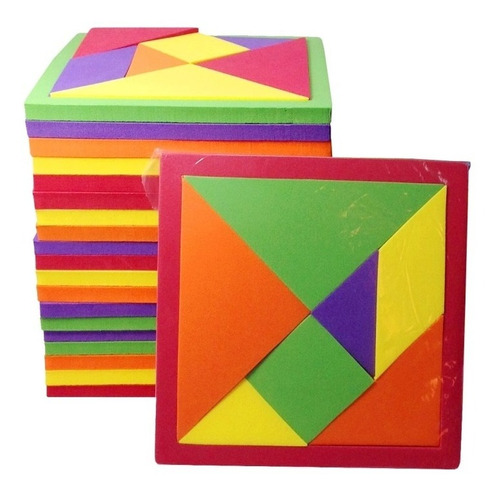 Imagen 1 de 3 de Pack 10 Pzas Tangram Didactico De Foamy Fomi (14x14 Cm) 8 Mm