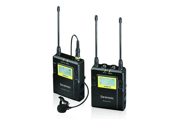 Sistema Microfone Lapela Sem Fio Saramonic Uwmic10 Uhf Wireless Com Transmissor Tx10 E Receptor Rx10