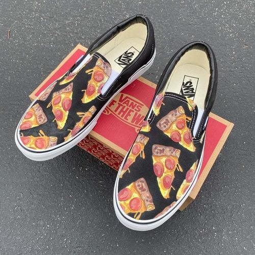 Vans Pizza Custom Personalizados A Mano Originales Negros ...
