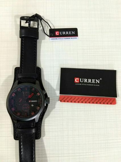 Relógio Curren Masculino Couro Sintético Preto Luxo