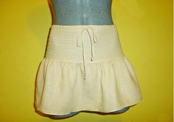 Minifalda Juicy Couture Lino Color Caqui Talla Chica