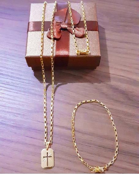 Cordão Tijolinho 70cm 3mm + Pulseira Tijolinho + Pingente Banhado A Ouro 18k Promoção + Brinde