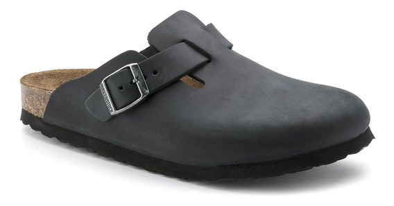 Birkenstock Clog Boston Couro Nobuck Narrow Preto + Barato
