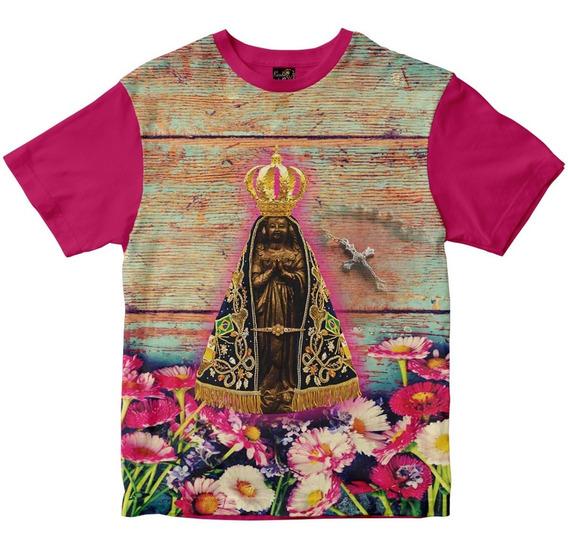 Camiseta Nossa Senhora Aparecida Feminina Fundo Rosas