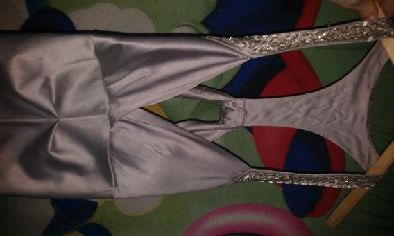 Vestido De Fiesta Corte Sirena Color Plata $1500