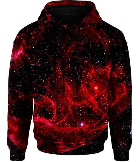 Blusa Moletom Bolso Capuz Tumblr Gorro Universo Galaxia Red