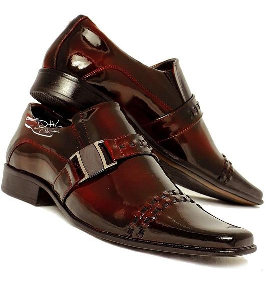 Sapato Masculino Verniz Homem Exclusivo Dhl Calçados Couro