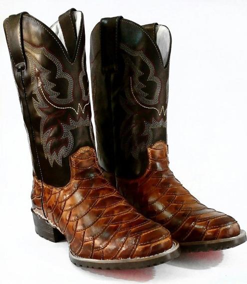 Botina Country Masculina Texana Bico Redondo Couro Legitimo