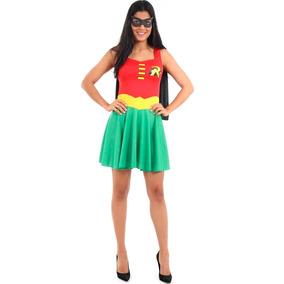 Roupa De Carnaval Barata Robin Feminina Adulto Com Máscara