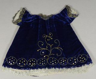 Antiguo Vestido Terciopelo Azul Niño Dios Bordado Dorado