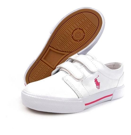 Tenis Polo Ralph Lauren Para Niña Escolar Blanco Con Rosa
