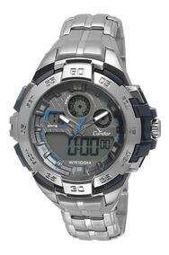 Relógio Condor Masculino Anadigi Co1154br/3a Prata Azul Off